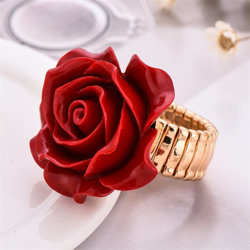 Red Ladies Vintage Look Rose Fashion Gothic Stretch Ring