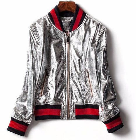 Silver Zipup Jacket Pullover Coat, All Sizes