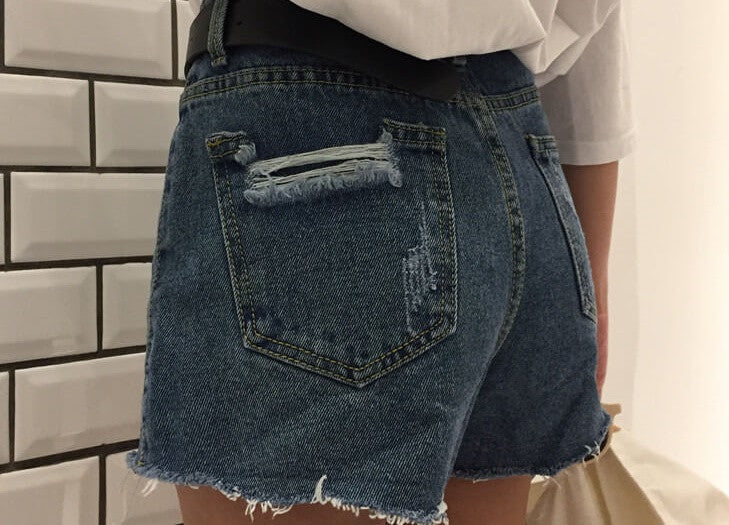 Star Cut Distressed High Waist Shorts