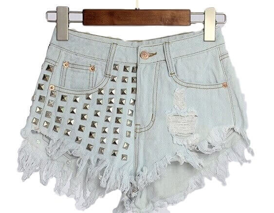 Studded High Waisted Shorts, Many Sizes