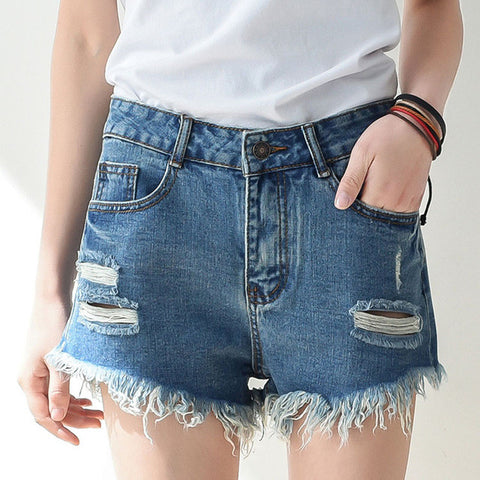 High Waisted Denim Blue Shorts, Distressed Hipster/Grunge Style, All Sizes!!