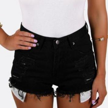 Mystery DISTRESSED High Waisted Shorts / Sexy Denim Cut·off Summer Style: All Sizes