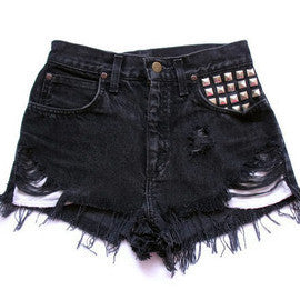 Mystery STUDDED DISTRESSED High Waisted Shorts / Sexy Denim Shorts For Summer: All Sizes