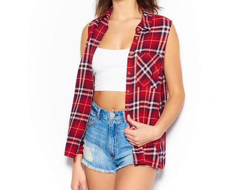 Mystery Vintage Summer Outfit: Distressed High Waisted Shorts & Distressed Cutoff Flannel Shirt - All Sizes