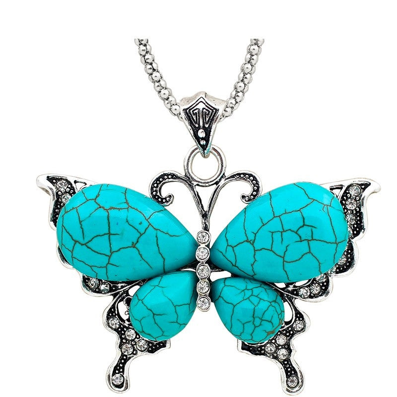 Vintage Inspired Necklace, Pretty Butterfly Pendant, Tibetan Alloy Antique Silver Plated