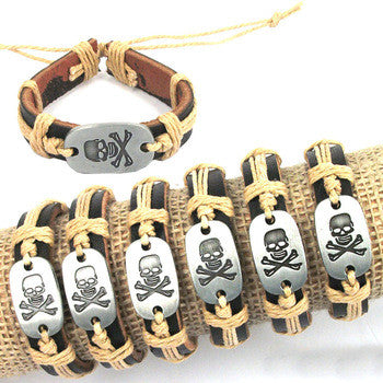 Unisex Cross and Bone Skull Tribal Style Bracelet Leather Bracelet Cool