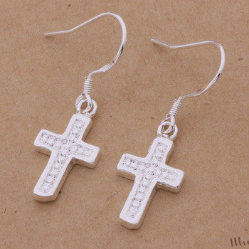 925 STERLING SILVER CROSS EARRINGS