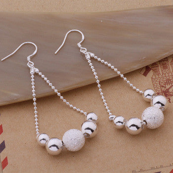 925 STERLING SILVER DROP BEADS EARRINGS