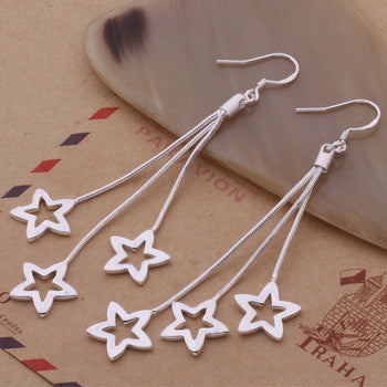 STERLING SILVER HANGING STARS EARRINGS