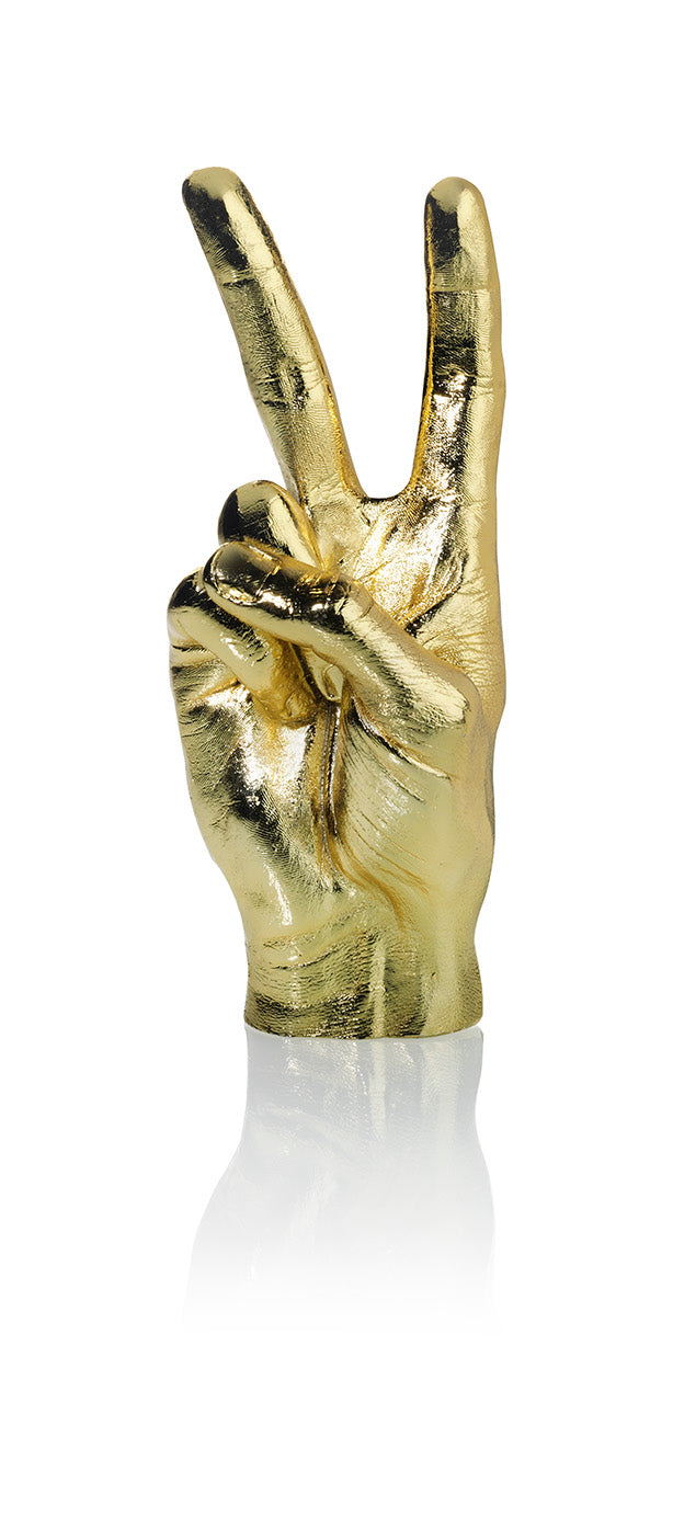 Peace Sign Sculpture Gold