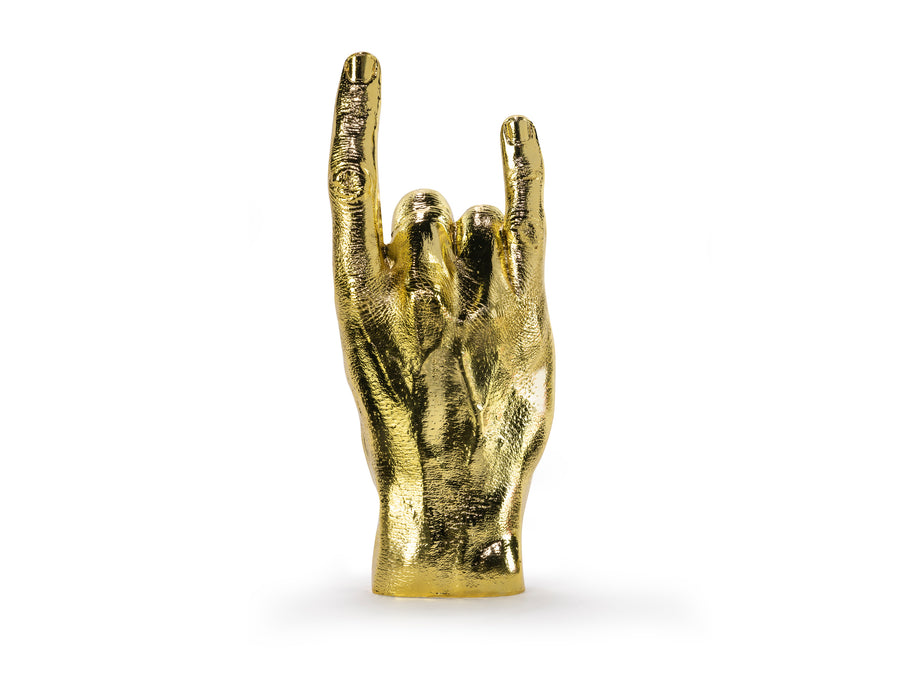 Rock On Sign Sculpture Gold