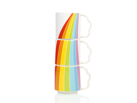 Over The Rainbow Mugs, set of 3 stackable mugs