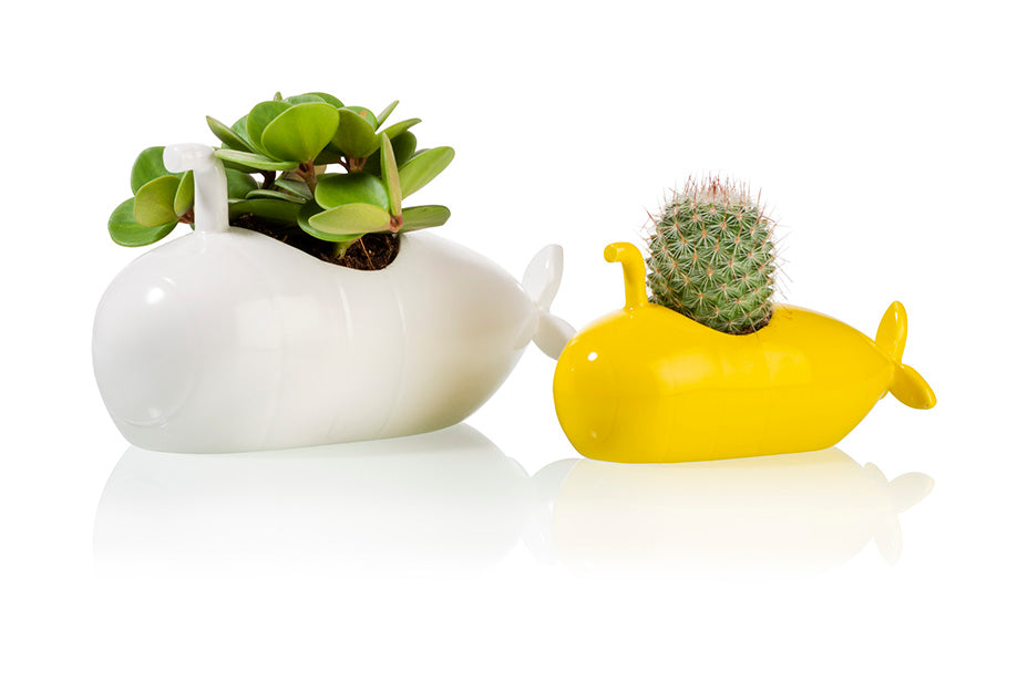 Submarine Planter White Medium