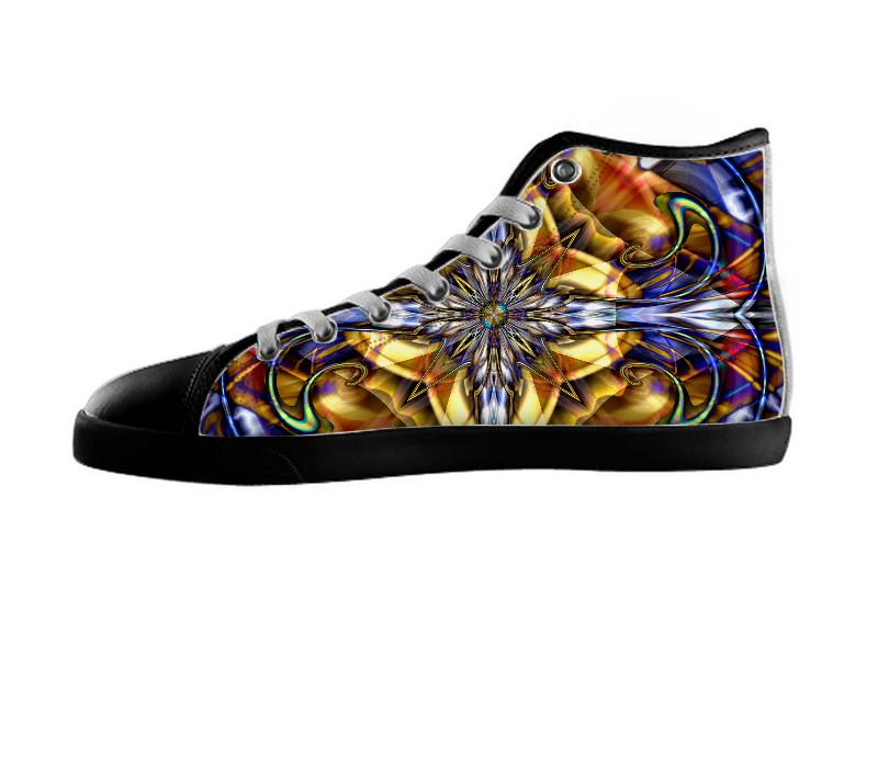 Stained Glass Collage Gold Border Shoes , Shoes - xzendor7, SpreadShoes