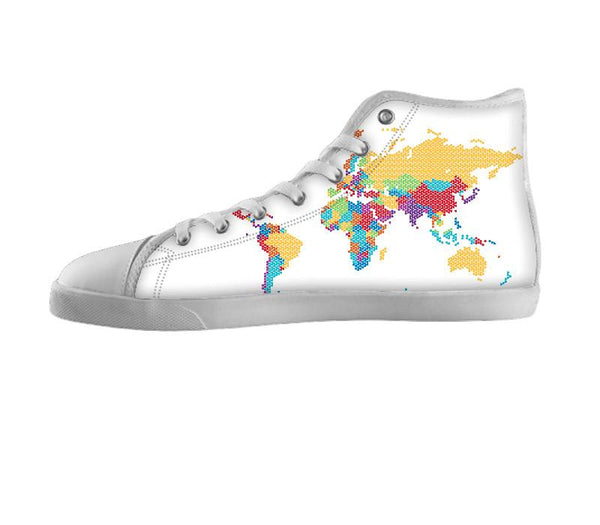 Unlabeled World Map Shoes