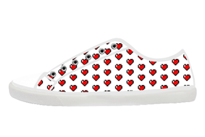 8 Bit Heart Low Top Shoes Women's / 5 / White, Low Top Shoes - SpreadShoes, SpreadShoes