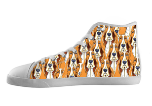 Basset Hound Shoes Women's High Top / 5 / White, Shoes - spreadlife, SpreadShoes  - 1