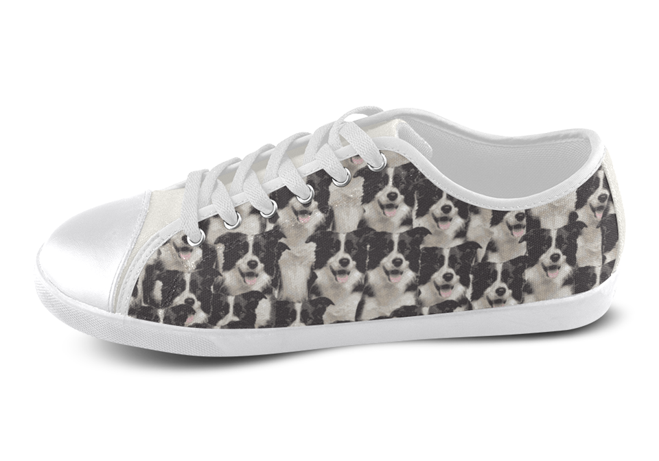 Border Collie Shoes Women's Low Top / 5 / White, Shoes - spreadlife, SpreadShoes  - 3