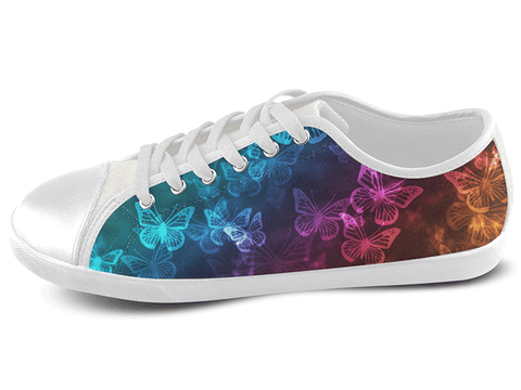 Neon Glow Butterfly Low Top Shoes