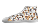 English Bulldog Shoes Women's High Top / 5 / White, Shoes - spreadlife, SpreadShoes  - 1