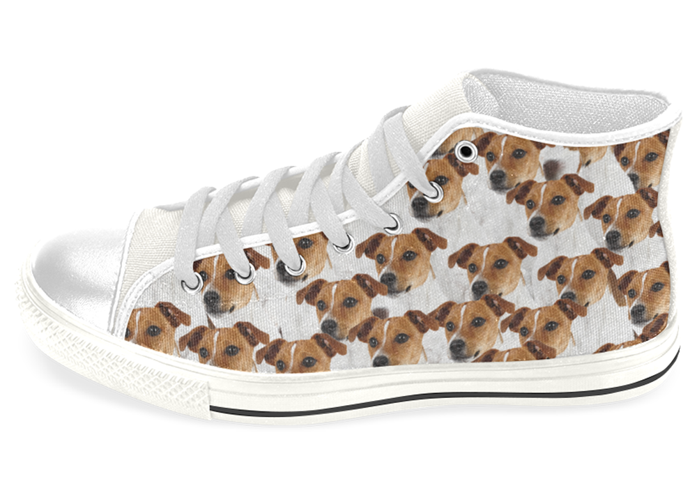 Jack Russell Terrier Shoes Women's High Top / 7.5 / White, Shoes - spreadlife, SpreadShoes  - 1