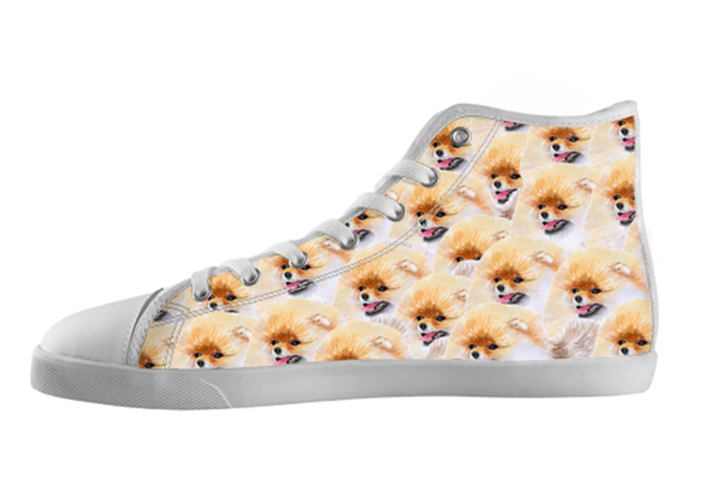 Pomeranian Shoes Women's High Top / 5 / White, Shoes - spreadlife, SpreadShoes  - 1