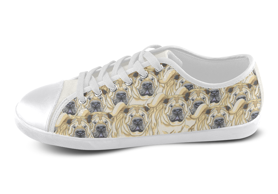 Shar Pei Shoes Women's Low Top / 5 / White, Shoes - spreadlife, SpreadShoes  - 3