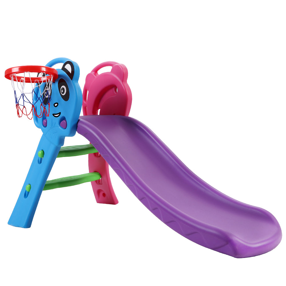 CASS  Kids Slide with Basketball Hoop Outdoor Purple
