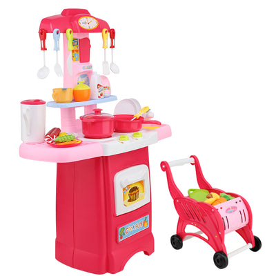 CASS Kids Kitchen and Trolley Playset - Red
