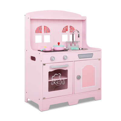 CASS Kids Wooden Kitchen Play Set - Pink & Silver