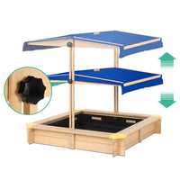 CASS Wooden Outdoor Sand Box Set Sand Pit- Natural Wood