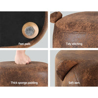 Artiss Kids Ottoman Animal Stool Bear Wood Footstool Fabric Brown