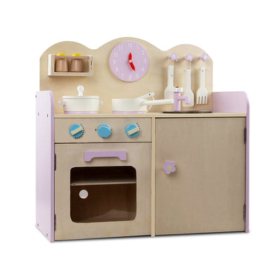 CASS Kids Wooden Kitchen Play Set - Natural & Pink