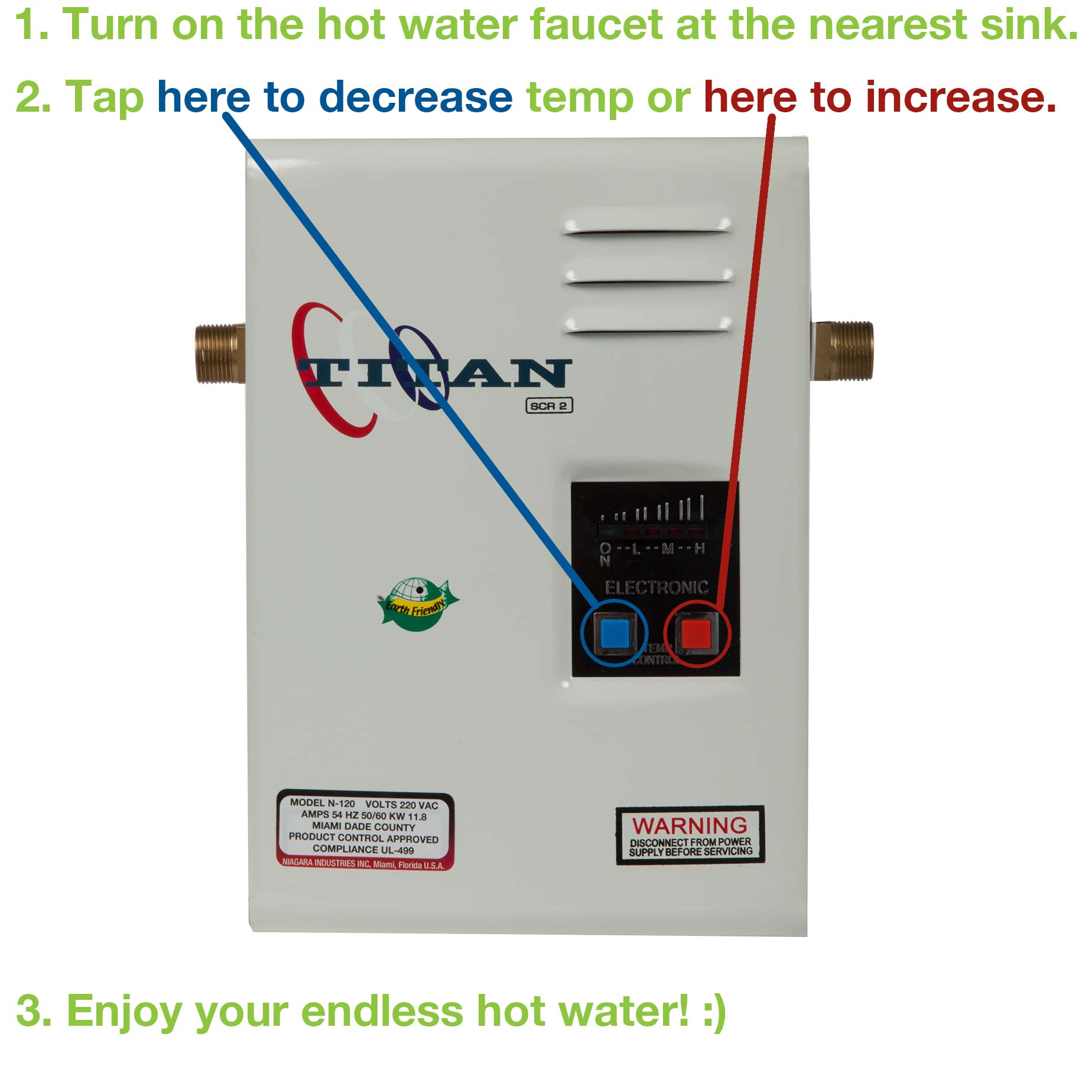 How to adjust Titan: 1. Turn on hot faucet. 2. Press blue button for down, red button for up. 3. Enjoy endless hot water.