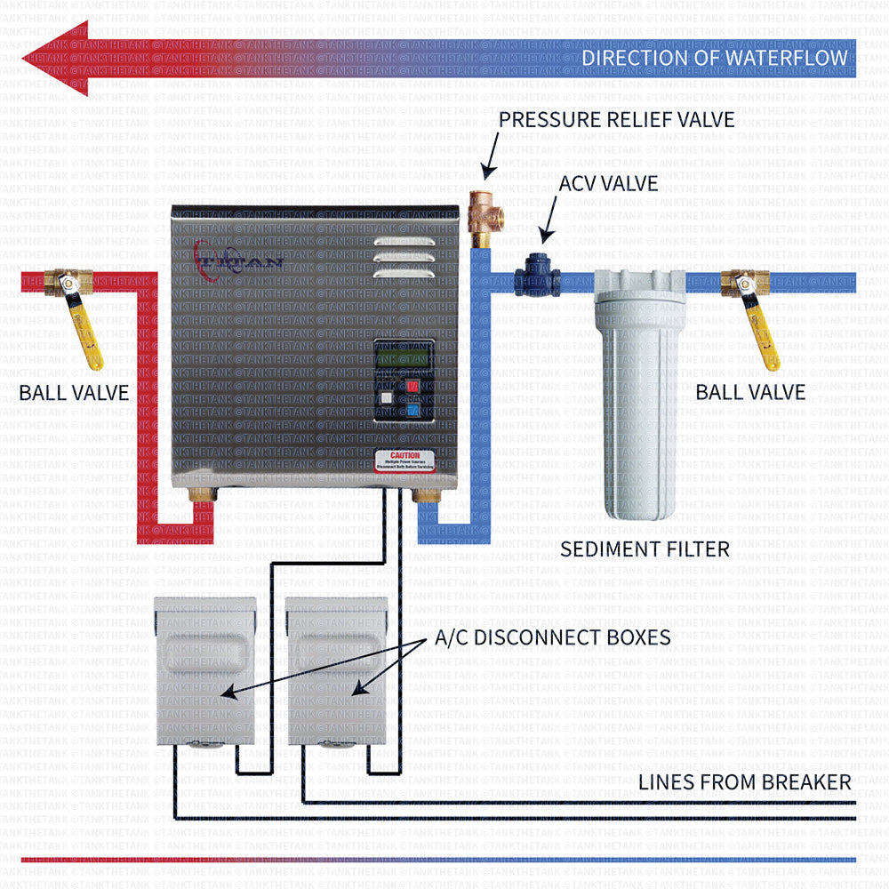 Installation diagram for Titan N180 through N270 tankless water heater.
