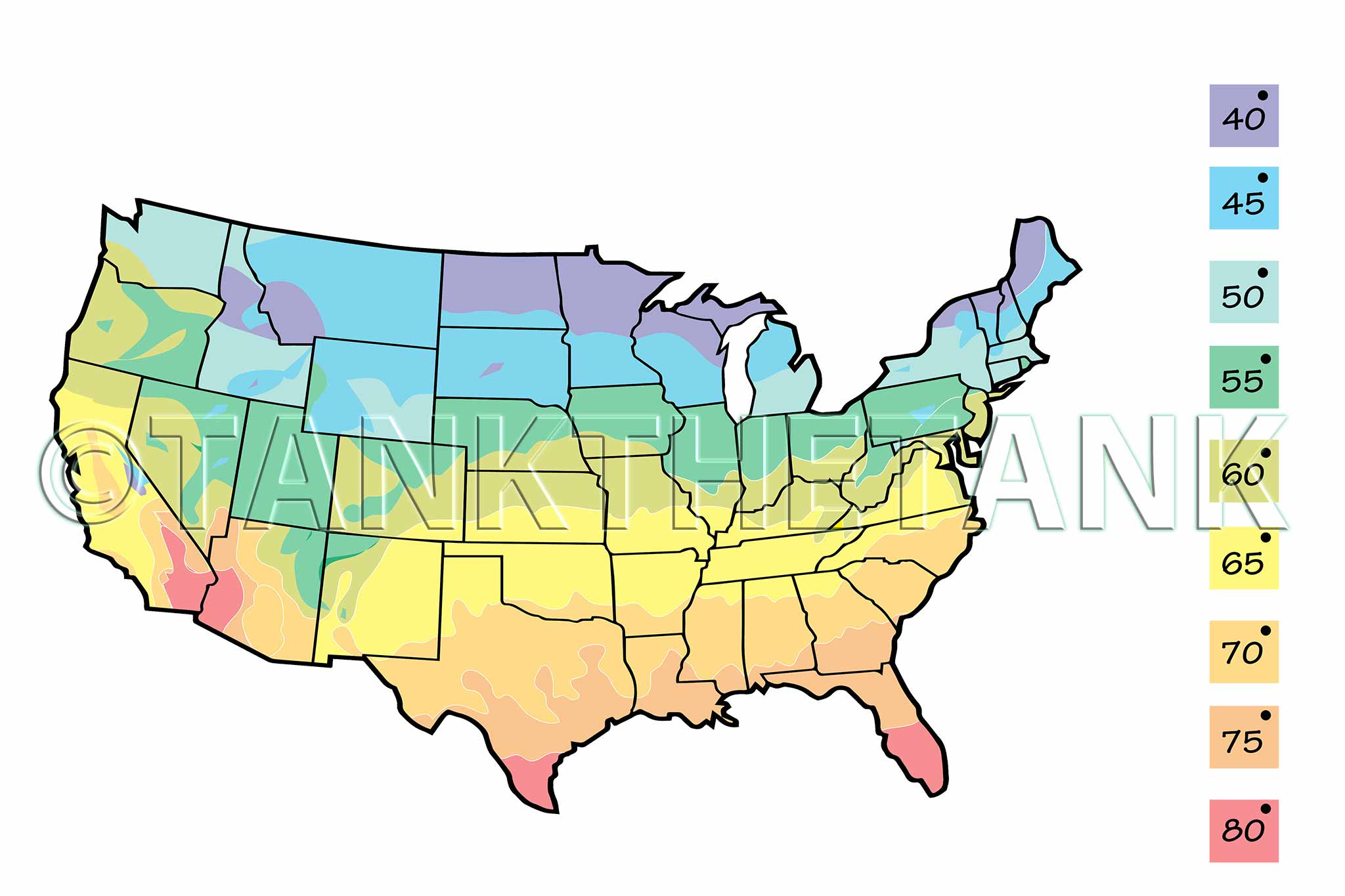 Color coded map of the United States showing average incoming water temperature.