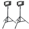 2x LED-312Ds Kit Pro LED BI-Color Video Light Kit Diammable W/ LCD ,Batteries & Barndoor with Light Stands