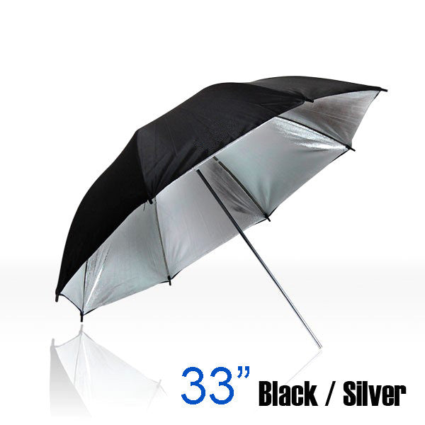"33"" Double Layer Silver And Black Umbrella"