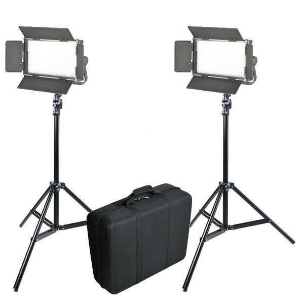 LED KIT 2X 1024AVL STUDIO VIDEO LIGHT PANEL WITH LCD TOUCH SCREEN + 2x LIGHT STAND + CARRY BAG