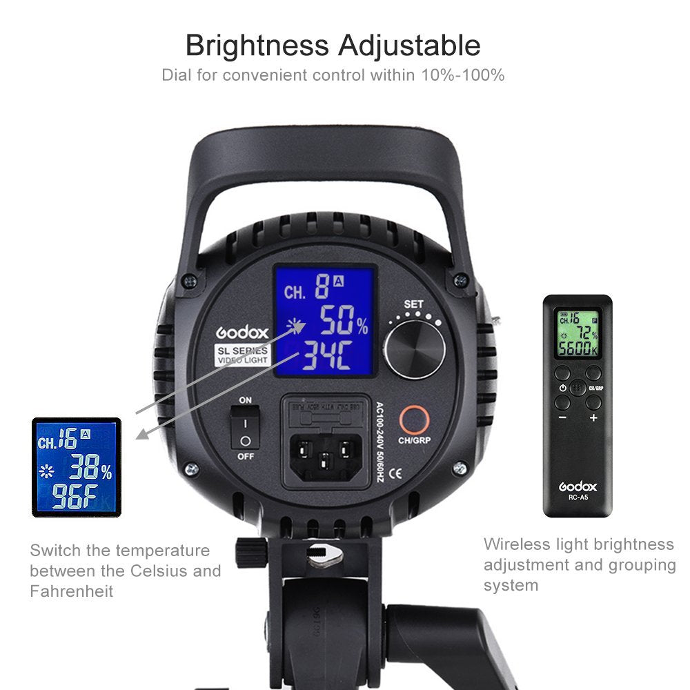 Godox SL-60W LED Video Light Continuous Light 5600K Daylight with Remote  Control Bowens Mount