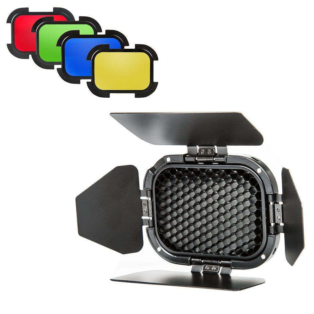 Good BD-07 Barndoor Kit with Honeycomb and 4 Color Gels for AD200 Speedlight Head