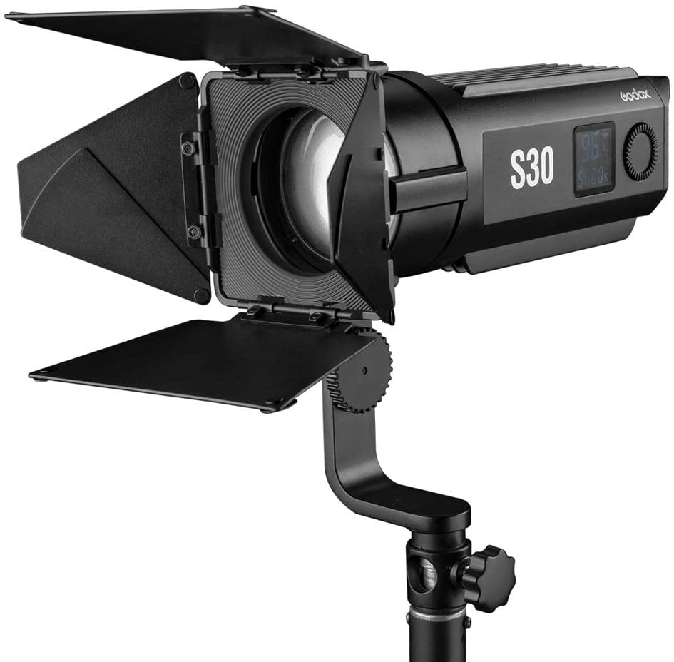 Godox S30 30W Focusing LED Spotlight with SA-08 Barndoor ,NP-F970 6600 mAh Battery and Charger