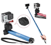 JUSINO AC-520 Portable Aluminum Handheld Monopod Selfie Stick for Gopro Smartphone Digital Camera-Blue With Bluetooth Remote