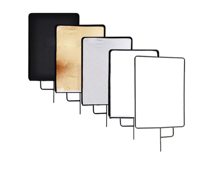 "5 in 1 Studio Flag Panel Kit, with Silver / White / Black / Gold Panel /Translucent  Reflector 30""x36"""