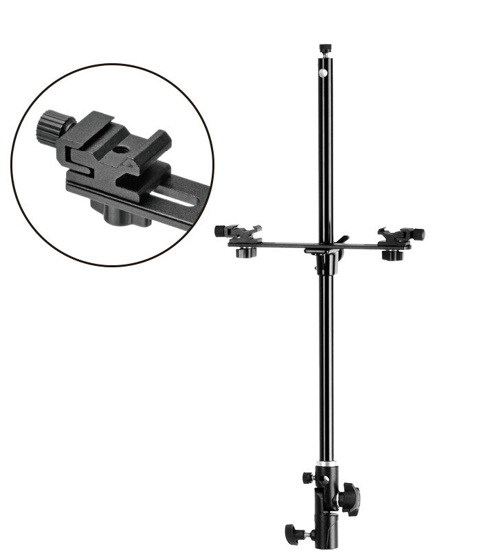 Flash Bracket with Two Hot Shoe Adjustable for Light Stand