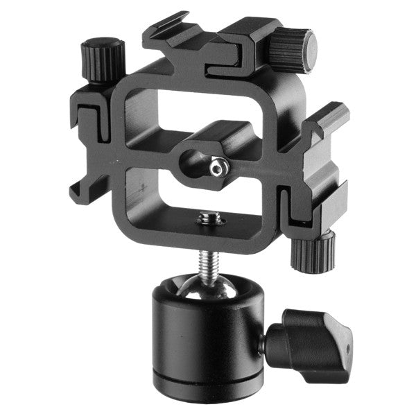 Flash Bracket Tri-Hot Shoe Mount Adapter for Light Stand