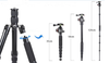 Jusino TK255S Aluminium Retractable Travel Tripod Monopod for Camera with Ball Head BT-02