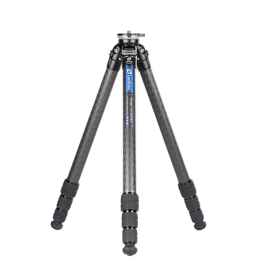Leofoto LS-324CEX Ranger Series Portable Carbon Fiber Tripod 4 Section + Built-in Leveling Base 15° Tilt