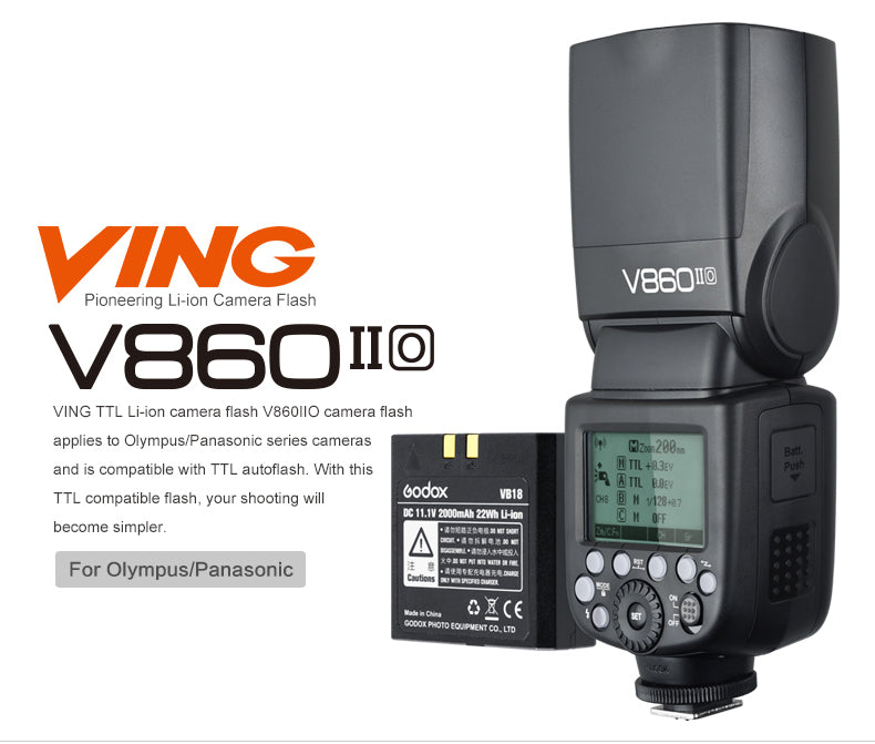 Godox V860II O VING TTL Li-ion Battery Camera Flash Speedlite HSS 2.4G Wireless For Panasonic Olympus