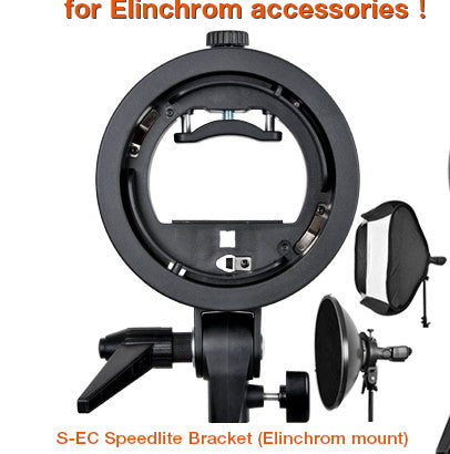 Godox S-EC Speedlite  Bracket Elinchrom  Mount Holder for Speedlite Flash Snoot Softbox Honeycomb
